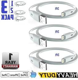 1,2 or 3 Pack Extra Durable Flat Lightning Cable Fast Data &