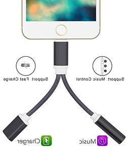2 in 1 Lightning Adapter iPhone 7, iPhone Splitter, 2-Port L