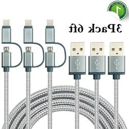 Charlemain 2-in-1 Lightning and Micro USB Cable  Long Nylon