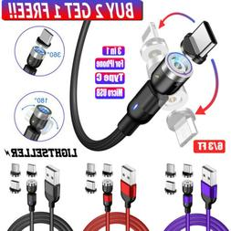 180+360° Rotate Magnetic Phone Cable Micro USB Type C Charg