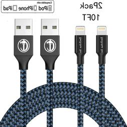 2Pack 10Ft Lightning Cable Heavy Duty For iPhone 8 7 6plus C