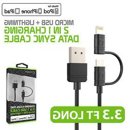 2 in 1 Micro USB & Lightning 8Pin MFI Travel Home Charger Da