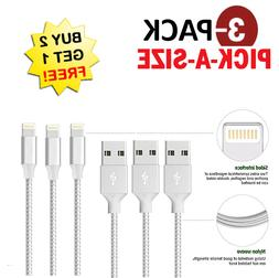✔3 PACK for Lightning Cable Heavy Duty Braided Iphone 8 7