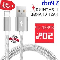 3 PACK 10 FT Heavy Duty Braided Lightning USB Charger Cable