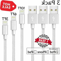 3-Pack USB Data Charger Cables Cords For Apple iPhone 5 6 7