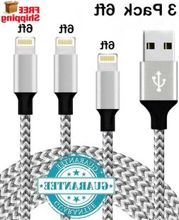 3 Pack 6 Foot Apple MFi Certified Lightning Charger Cable Fo