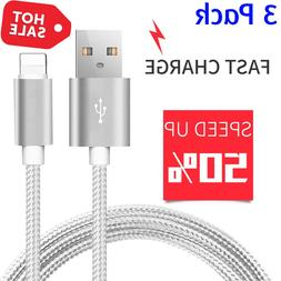 3 PACK 10 FT Heavy Duty Braided USB Charger Cable Cord For i