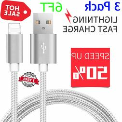 3 Pack 6 Ft Lightning Cable iPhone X8 7 6 5 USB Charger Heav