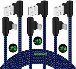 3 PACK 6ft 90 Degree Angle Fast Charging Cable Quick Charger
