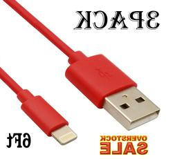 3 pack usb charger cable 6ft 2m