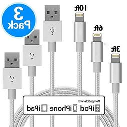 3 PACK 3F/6F/10F Nylon Braided USB A to Lightning Compatible