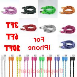 3FT 6FT 10FT USB Braided Cord For iPhone 6S 7 8 Plus X Xs Ma