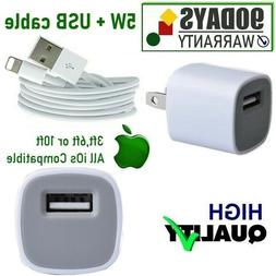 3ft USB Power Cord Cable + 5W Cube Wall Charger for iPhone 6