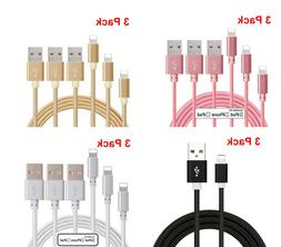 3Pack 3Ft USB Lightning Cable Cord Charger For Apple iPhone