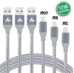 Aonlink 3Pack iPhone Charging Cable 3FT 6FT 10FT Nylon Braid