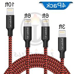 4 Pack Lightning Cable Heavy 3 6 10 Ft For iPhone 7 6 5 Char