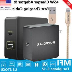 45W Wall PD Fast Charger Adapter For Laptop & Charging Cable
