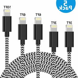 5 Pack MFi Certified Lightning Cable Nylon Braided USB Charg