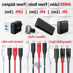 Anker iPhone Micro USB Cable Type C 3FT 6FT 10FT Charger Ada