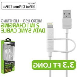 Apple MFI Certified 2 in 1 Micro USB + 8 Pin Lightning Charg