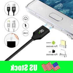 Braided Magnetic Lightning USB Charger Charging Cable For Ap