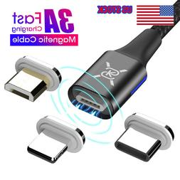 Braided Magnetic Lightning+USB Charger Charging Cable For iP