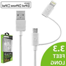 Cellet 2 in 1 Micro USB + Apple MFI Certified Lightning Cabl