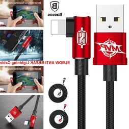 ELBOW Nylon Braided Lightning USB Data Syn Cable Charger f i