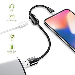 For iPhone 7 8 X USB Lightning Headphone Adapter Cable 8 Pin