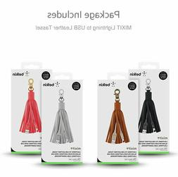 NEW BELKIN MIXIT Lightning to USB Cable Leather Tassel / Key