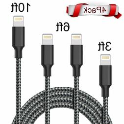 ONSON Lightning Cable 4Pack 3FT 6FT 6FT 10FT Extra Long Nylo