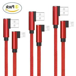 Right Angle Lightning Cable, 3 Pack 3.3FT/1M Nylon Braided C