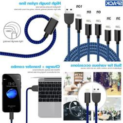 TNSO  iPhone Charger Lightning Cable USB Cord Nylon Braided.