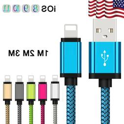 US 3~10ft USB iOS Braided Woven Strong Data Lightning Cable