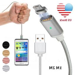 USA 3/6FT 2.4A Magnetic Micro USB Type C Lightning IOS Fast