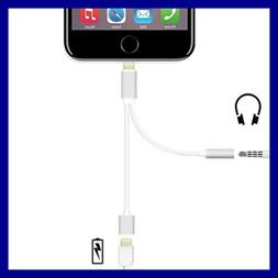 WHITE AUDIO ADAPTER Charging Cord Splitter Lightning Y Cable