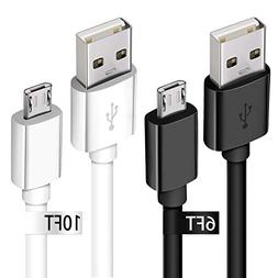 Charging Cable for Samsung Galaxy S7, 2Pack Long Micro USB 2