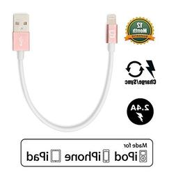 CreatePros Apple Certified Short Lightning to USB Cable for