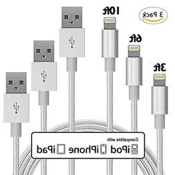 MoonKong MFi Certified, iPhone Charger 3Pack 3FT/6FT/10FT Ny