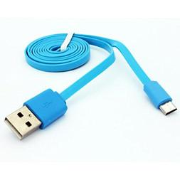Blue 6ft Long USB Cable Charge Power Wire Sync Micro-USB Dat