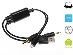 HAIN BMW Car Auxillary Adapter, Lightning Y Cable USB Chargi