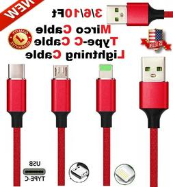 Braided USB Fast Charger Cable Cord For OEM iPhone Andriod L