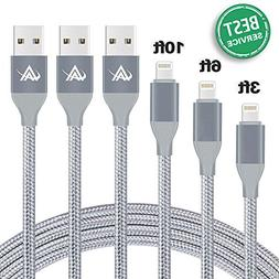 Lansen Charger Cables 3Pack 3FT 6FT 10FT to USB Syncing and