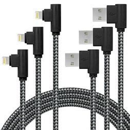 3 Pack 10FT/3M  90 Degree Charging Cable Extra Long Nylon Br