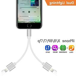 Dual Lightning Adapter Splitter for iPhone 8/8 Plus, iPhone