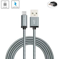 Gray Durable Braided 6ft Long Type-C Cable Rapid Charger Syn
