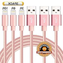 Suanna iPhone Cable 3Pack 3FT 6FT 10FT Nylon Braided Certifi