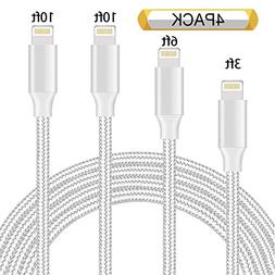 Kiomi iPhone Cable 4Pack 3FT 6FT 10FT 10FT Nylon Braided Cer