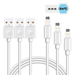 iPhone Cables, Elktry Lightning Cable 3 Pcs 4FT 6FT 8FT 8 Pi
