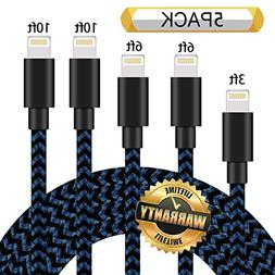 GUIGUI iPhone Charger 5Pack 3FT 6FT 6FT 10FT 10FT, Extra Lon